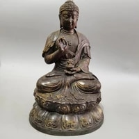 11 tibet buddhism old bronze cinnabars old patina sakyamuni burning lamp ancient buddha statue enshrine the buddha