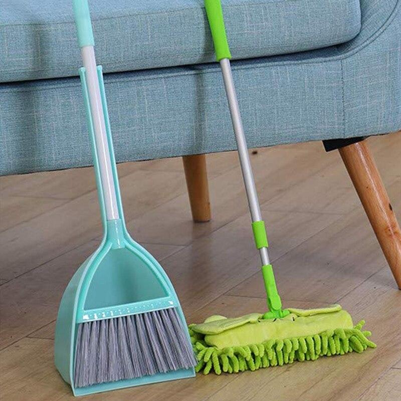 Herramientas de limpieza para niños, fregona pequeña de 3 uds, recogedor pequeño de escoba, auxiliar de limpieza pequeño conjunto (3 piezas, azul, Gre