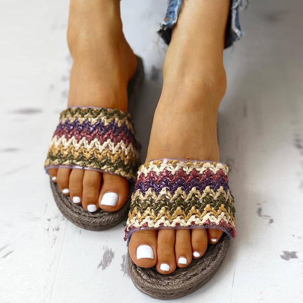 Verano Cruz Correa cáñamo tejido damas paja ahueca hacia fuera antideslizante zapatos de fondo plano zapatillas de lino playa Casual toboganes # C