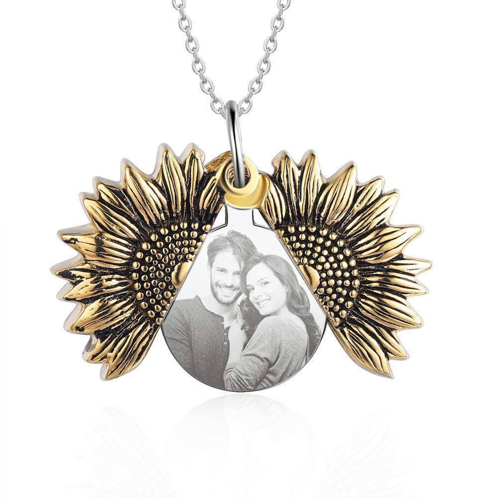 Винтажном стиле по индивидуальному заказу Откройте медальон ожерелье из подсолнечника гравировкой с принтом «You Are My ожерелье «солнце» для всей семьи, BFF ювелирные изделия оптовая продажа