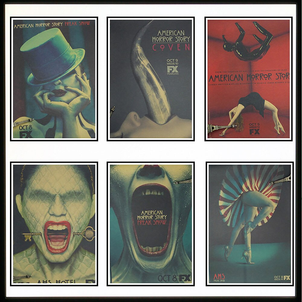 Historias de terror americanas, carteles nostálgicos, decoración de bar familiar, decoración de cafetería, 42x30cm (16,5x11,8 pulgadas)