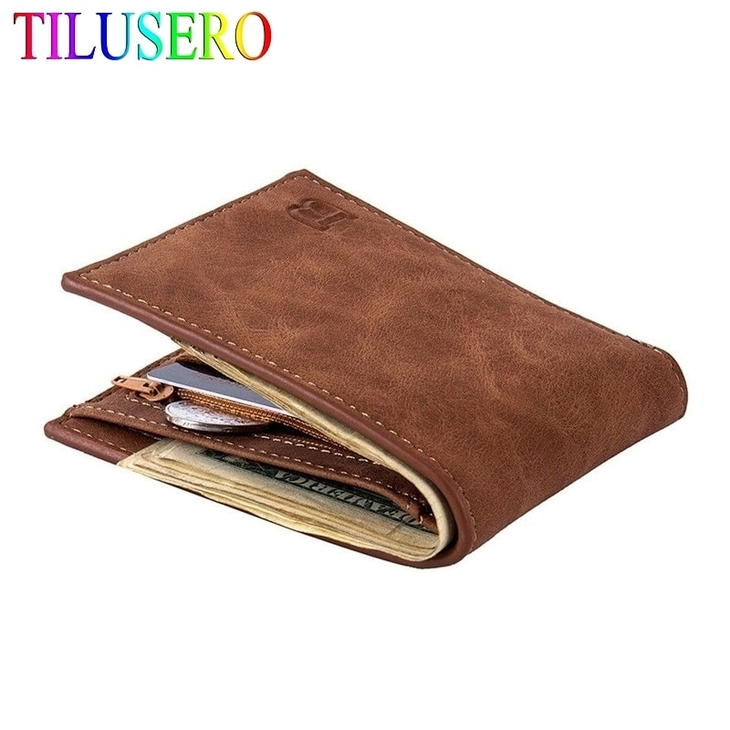 2020 New Fashion PU Leather Men's Wallet With Coin Bag Zipper Small Money Purses Dollar Slim Purse N