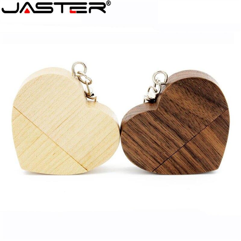Pen drive JASTER de madera con corazón Usb memoria Usb 64gb 16gb 32gb logotipo de la empresa personalizado regalo de boda regalo de fotografía