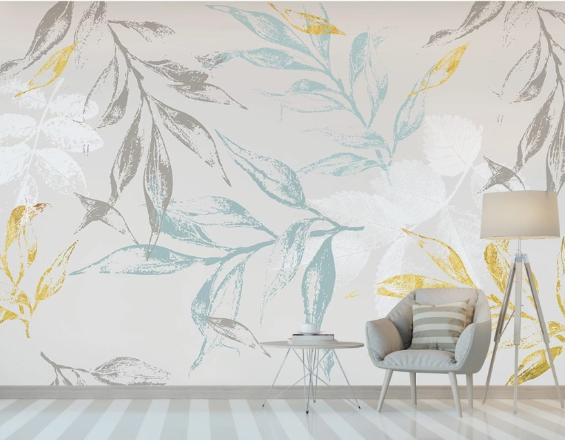 Custom Nordic Hand Drawn Tropical Golden Leaves Bedroom Background Wallpaper Mural