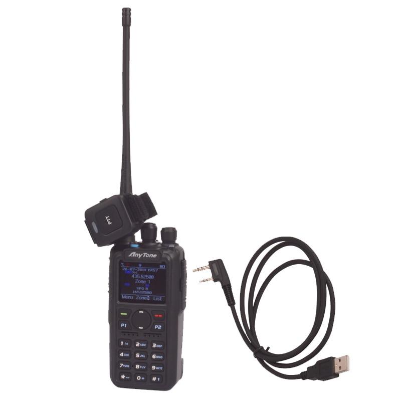 ham radio Anytone AT-D878UV Plus digital DMR & Analog UHF/VHF Dual band Bluetooth PTT walkie talkie GPS APRS Radio with PC cable enlarge