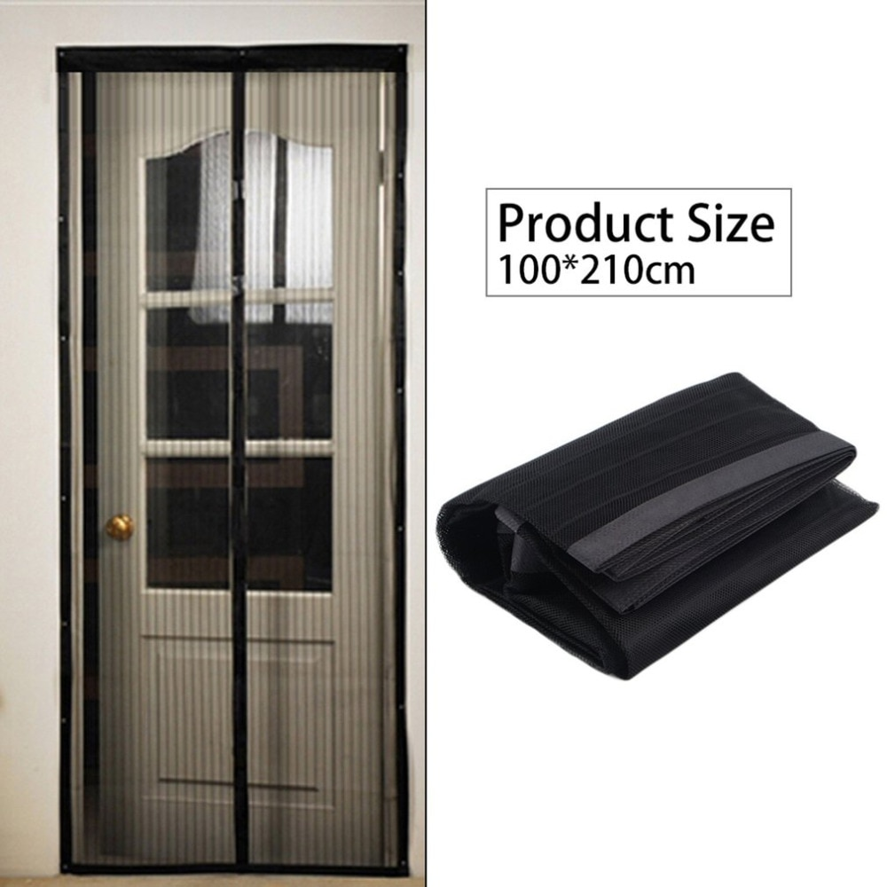 Negro verano 100 X210cm red mosquitos magnética Anti-Mosquito malla cortinas puerta tul ventana pantalla cierre automático