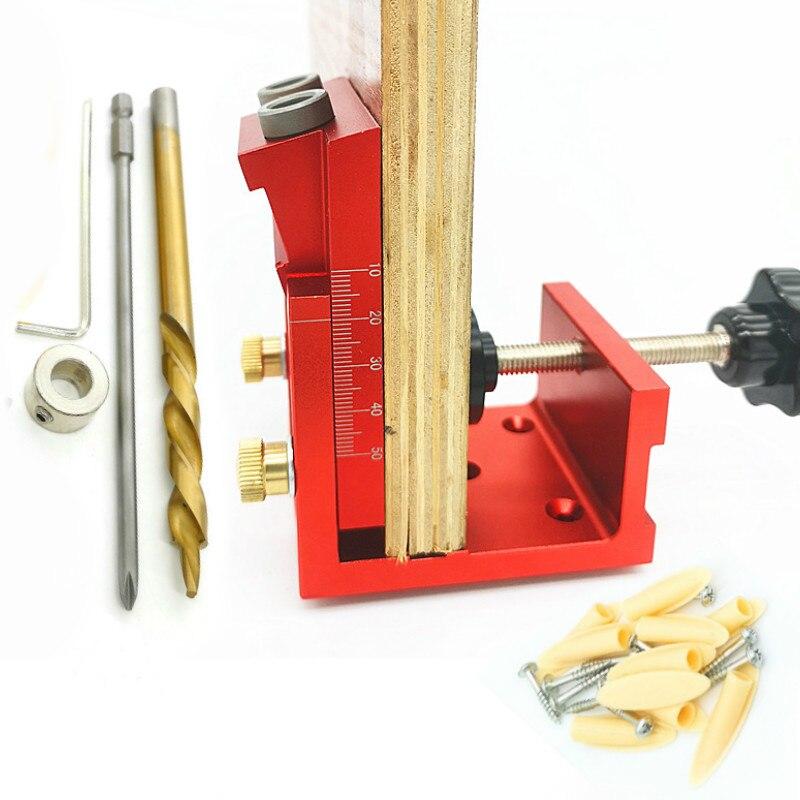 Conjunto para Carpintaria 9.0mm de Alumínio Buraco Oblíquo Perfurador Passador Gabarito Bolso Broca Guia Carpintaria Marcenaria Ferramentas Faça Você Mesmo