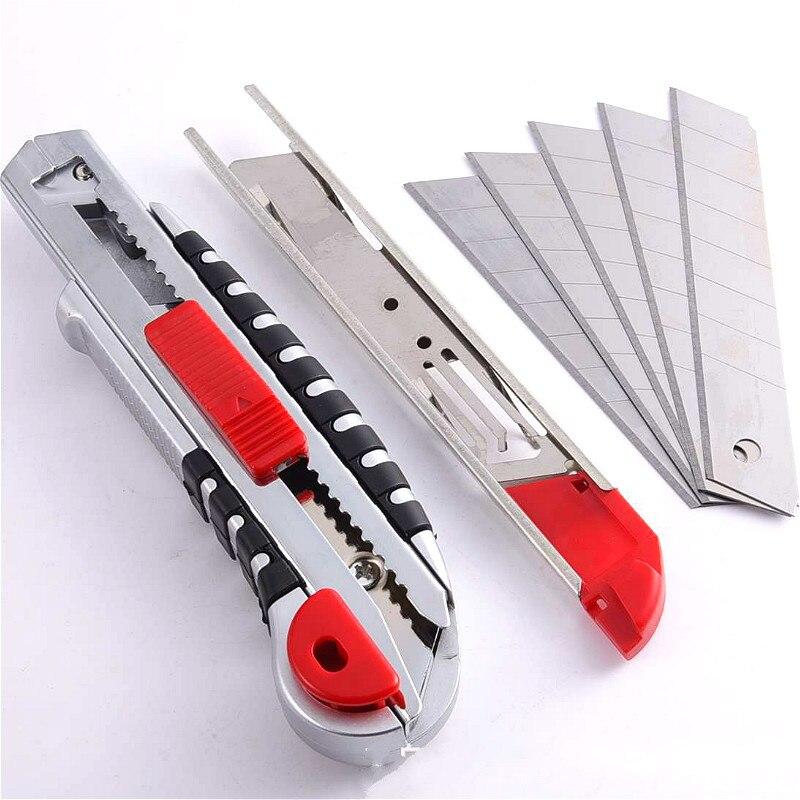 Corte de papel de pared de acero inoxidable cortador cuchilla de utilidad hoja de afeitar retráctil con 5 uds cuchillas Dropshipping