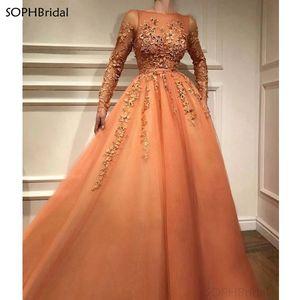 New Arrival Long Elegant Muslim Evening Dresses A-Line Long Sleeves Tulle Appliques Dubai Saudi Arabic Turkish Evening Gown