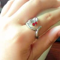 popular shiny czech diamond cute opening cat ring