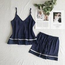Women Summer Sleepwear Sexy Pajamas Set Solid Adjustable Cami Top Shorts Satin Pajama Loose Female Nightwear Suits