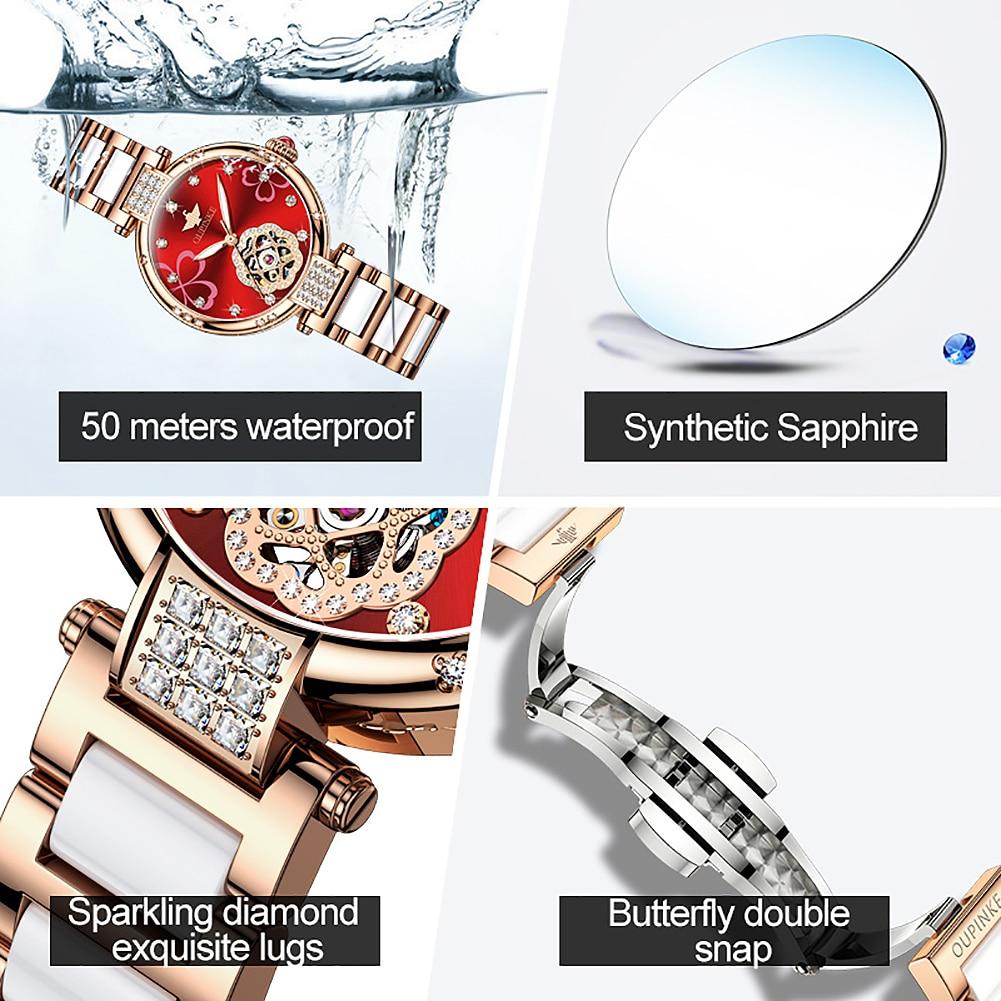OUPINKE Women's Mechanical Watch Top Brand Ceramic Sapphire Diamond Watch Fashion Waterproof Women's Watch Gift 3183 enlarge