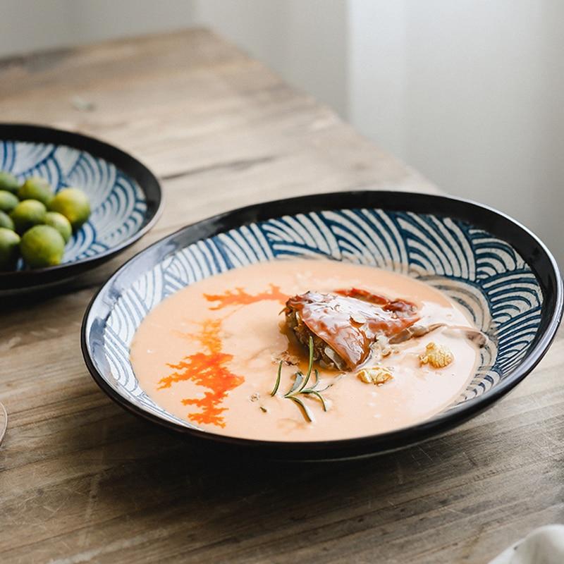 أطباق أرز خزفية يابانية عتيقة ، أطباق ، أدوات مائدة منزلية ، أطباق فواكه ، غير منتظمة ، الإفطار