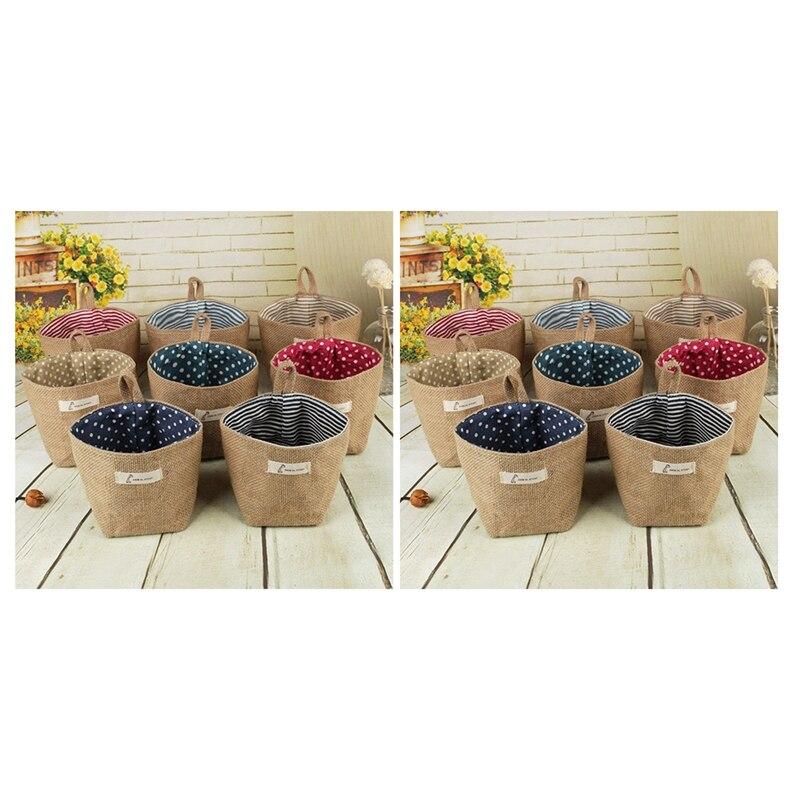 HOT-2x de algodón arte de lino maceta pequeño saco colgante de yute algodón punto de almacenamiento cesta de almacenamiento bolsa de almacenamiento (rayas azules y punto rojo)