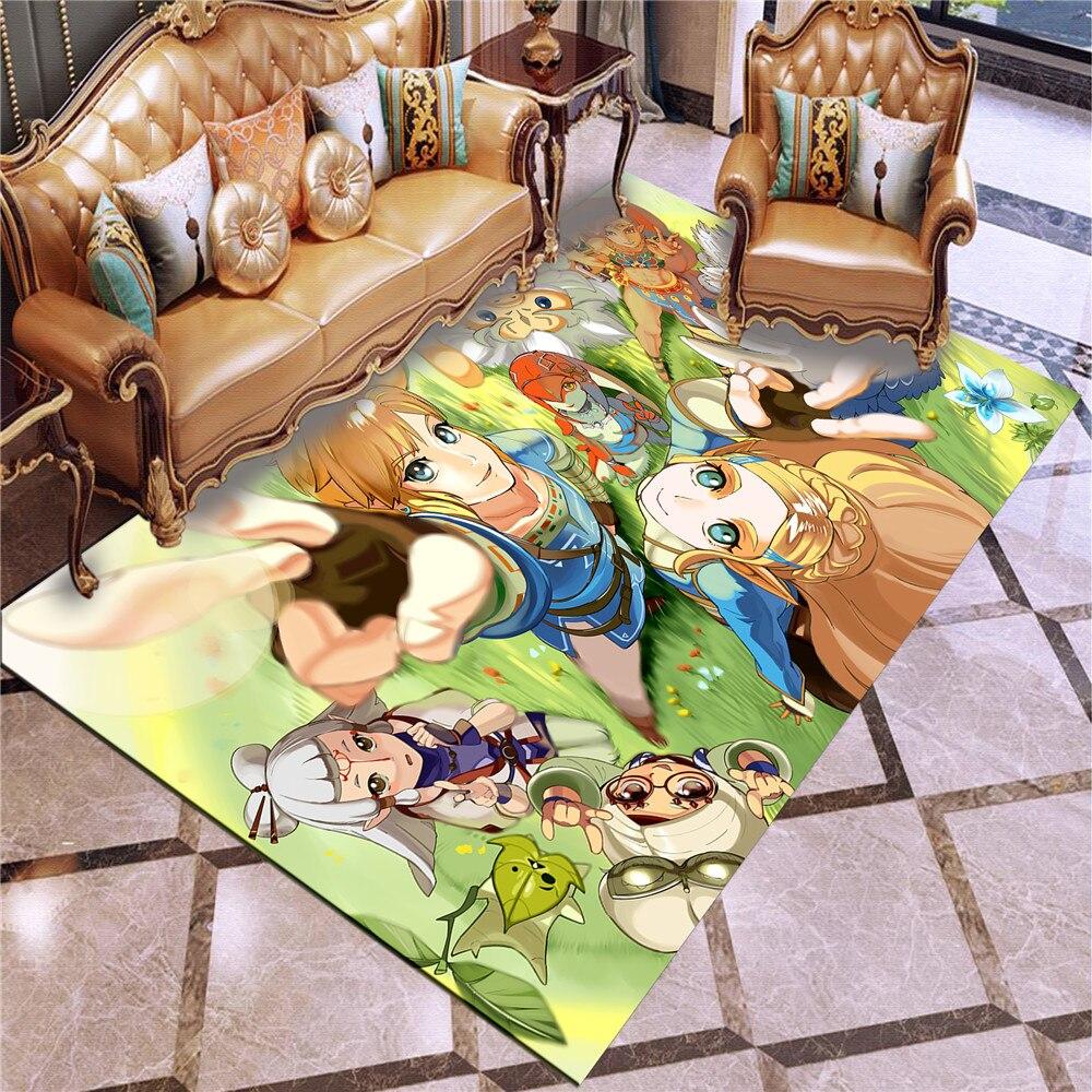 Légende de Zelda tapis anti-dérapant zone tapis de sol 3D tapis antidérapant tapis salle à manger salon doux chambre tapis Style