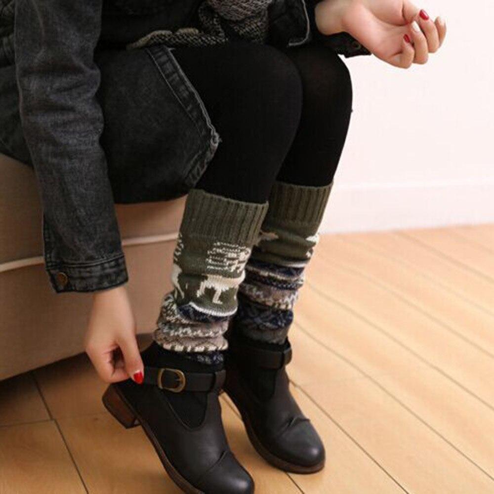 Navidad Patchwork mujeres invierno cálido de punto de Medias botas sobre la rodilla Crochet de lana calentadores de la pierna Medias гольфы
