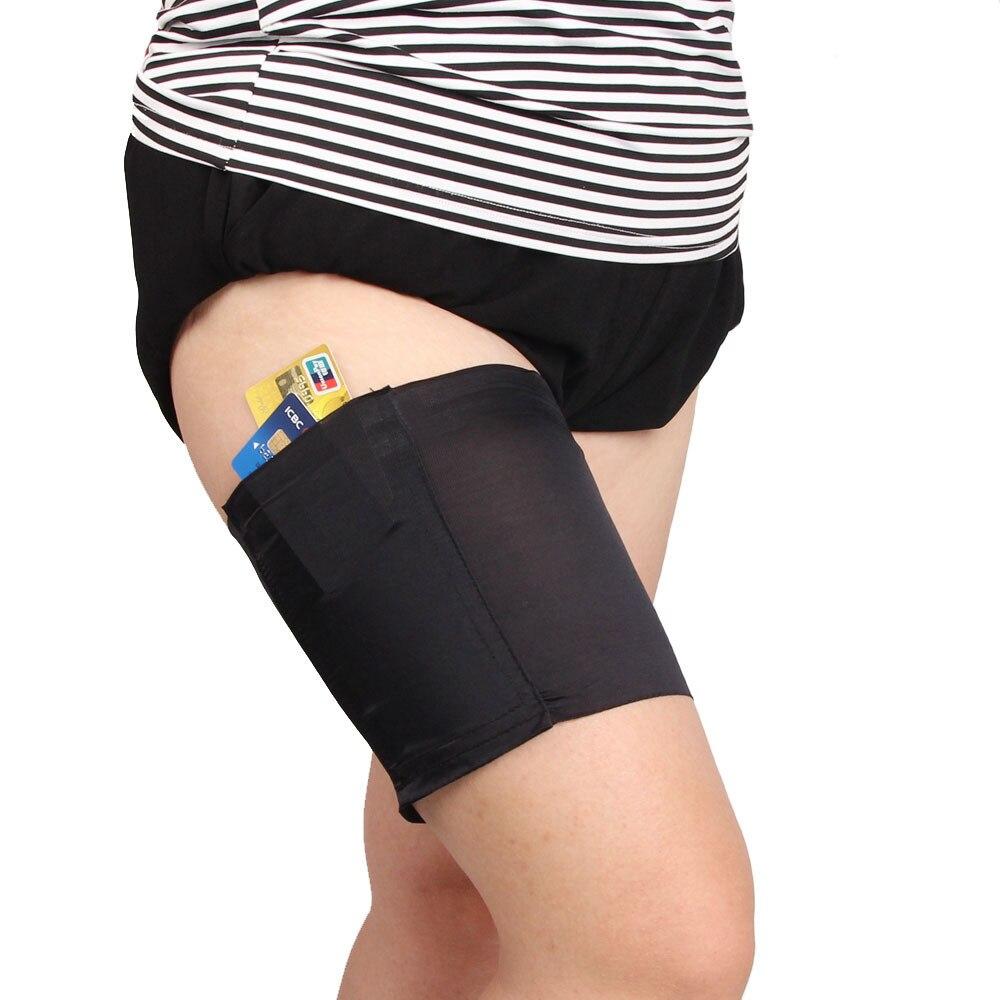 1pc mujeres Anti rozaduras de encaje Floral muslo bandas elásticas para damas Sexy calentadores de la pierna puños teléfono Tarjeta de bolsillo celular Anti-slip bolsillo de muslo