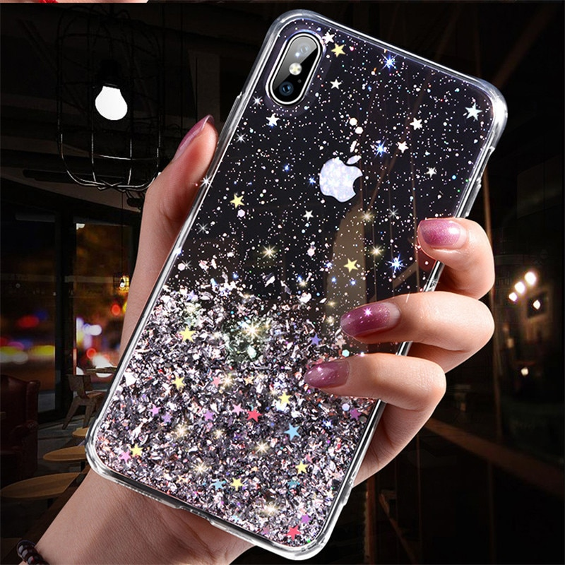 Capa protetora para iphone, case para smartphones, brilhante, estrelas e glitter, para iphone x, xr, 11, pro, xs, max, 6s, 7, 8, plus capa de tpu macia transparente brilhante