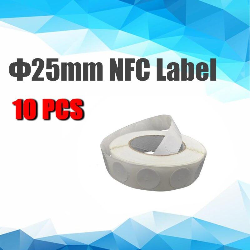Бесплатная доставка, высокочастотная NFC-метка, метка для социальных сетей, RFID-наклейка, самоклеющаяся этикетка для печати Φ 25 мм, 10 шт.