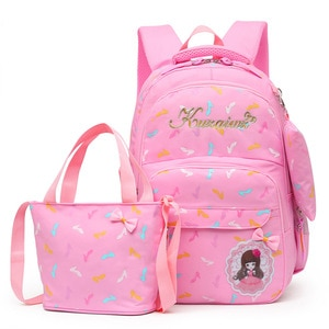 High-heeled shoes Printing Kids schoolbag 3pc/set School Backpack Nylon school bags for teenage girls shoulder bag Backpacks