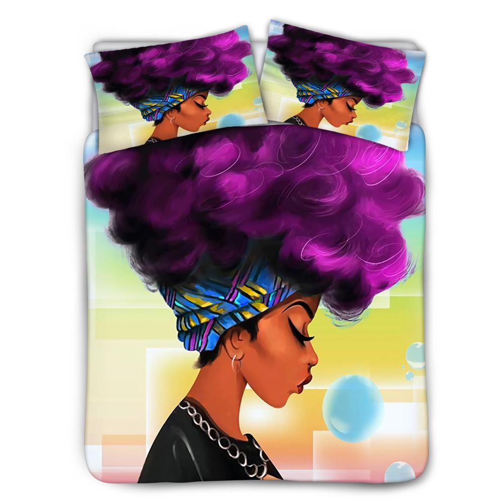 Juego de 3 uds de bolsa de cama hugsiera, juego de cama King Queen Twin Art Black Queen Girl con impresiones de pelo azul, ropa de cama, ajuste perfecto, cubierta de edredón arrugado