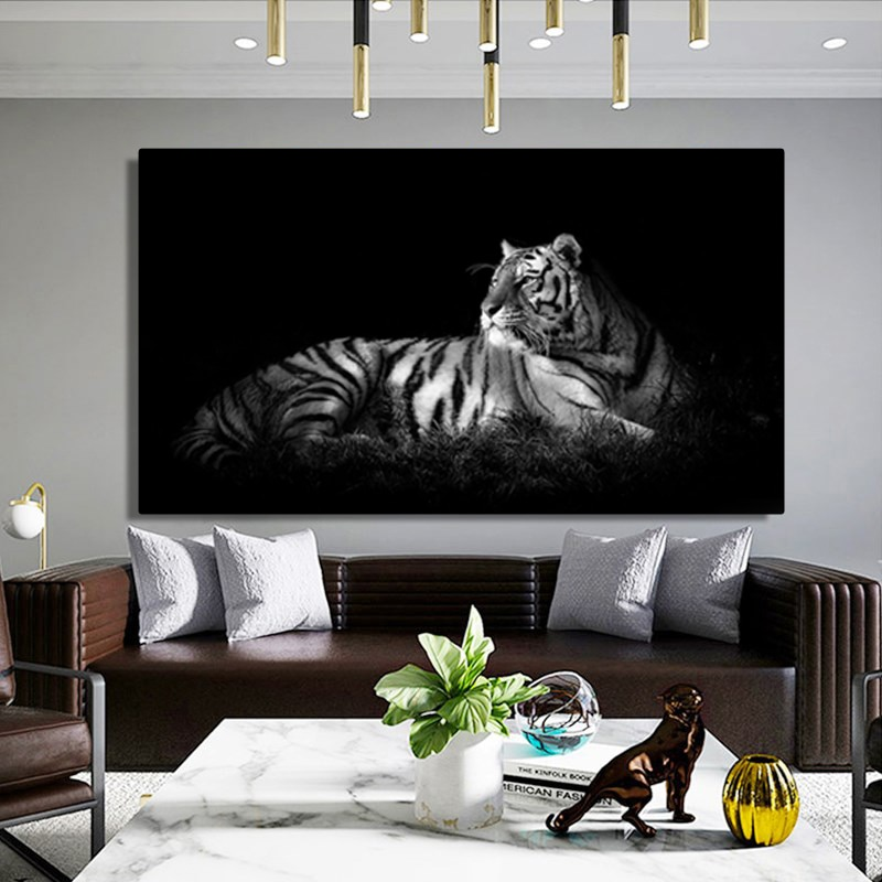 Cuadro sobre lienzo de tigre negro y gris para pared, carteles de animales e impresión HD, arte moderno para sala de estar, decoración para dormitorio sin marco