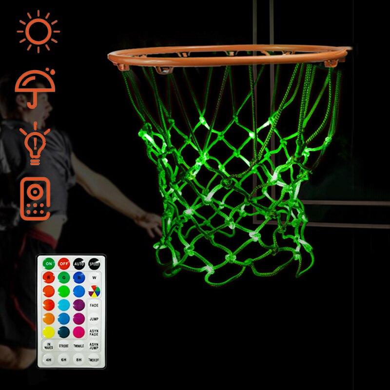 Фото - LED Basketball Net Light Up Hoop Net Change Colors Remote Outdoor/Indoor Waterproof Standard Sports Replacement Basketball Net luminous basketball net light up basketball net fluorescent basketball hoop mesh net glowing light basketball supplies