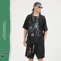 2021 springsummer new fashion rap retro print short sleeved high street vintage mens t shirt mens clothes anime shirt xy133