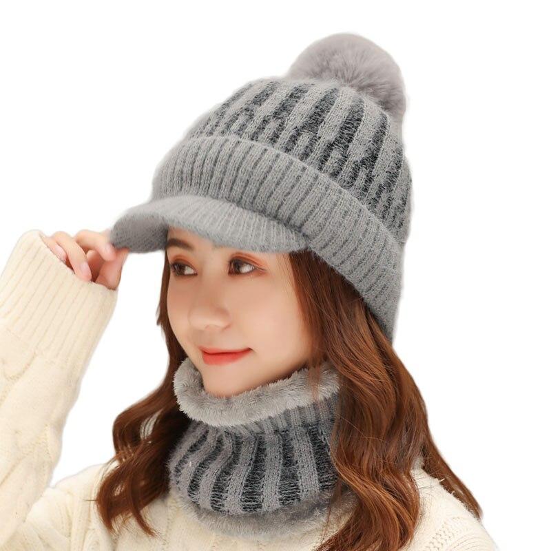 Брендовые женские зимние вязаные шапочки шапки Теплые Толстая шляпа женский шарф шапка набор Вязанные Трикотажные Шапочки наборы для езды ...