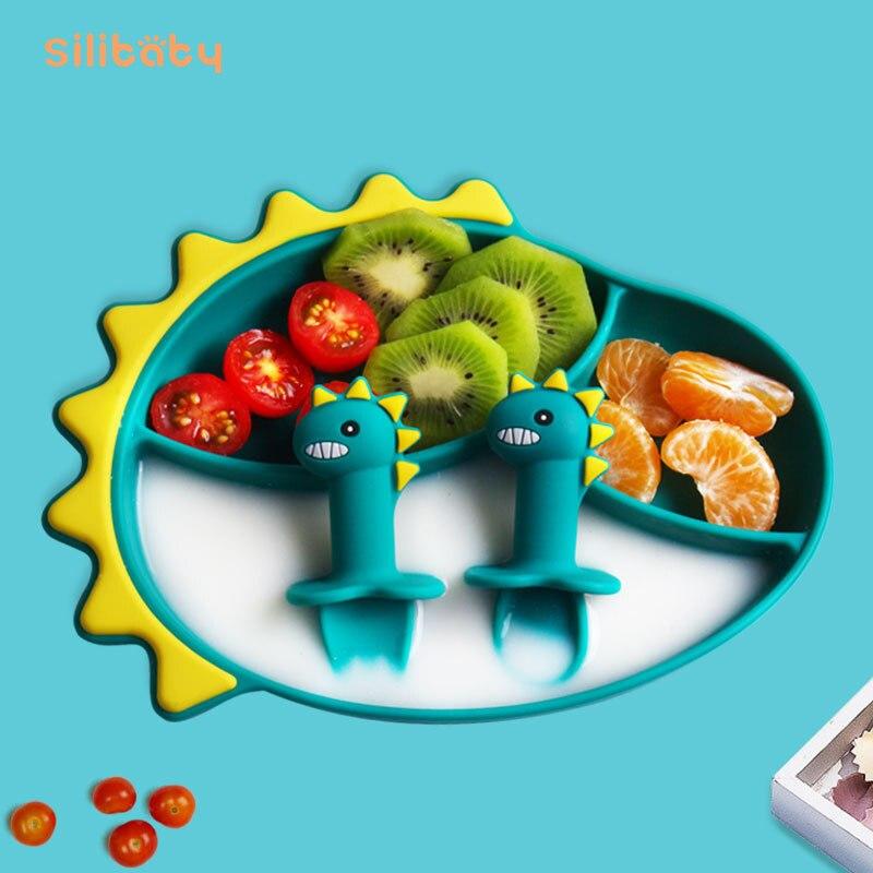 Силиконовая чаша на присоске Silibaby, детская чаша для дополнительного питания, портативная силиконовая разделенная тарелка, Детская трениро...
