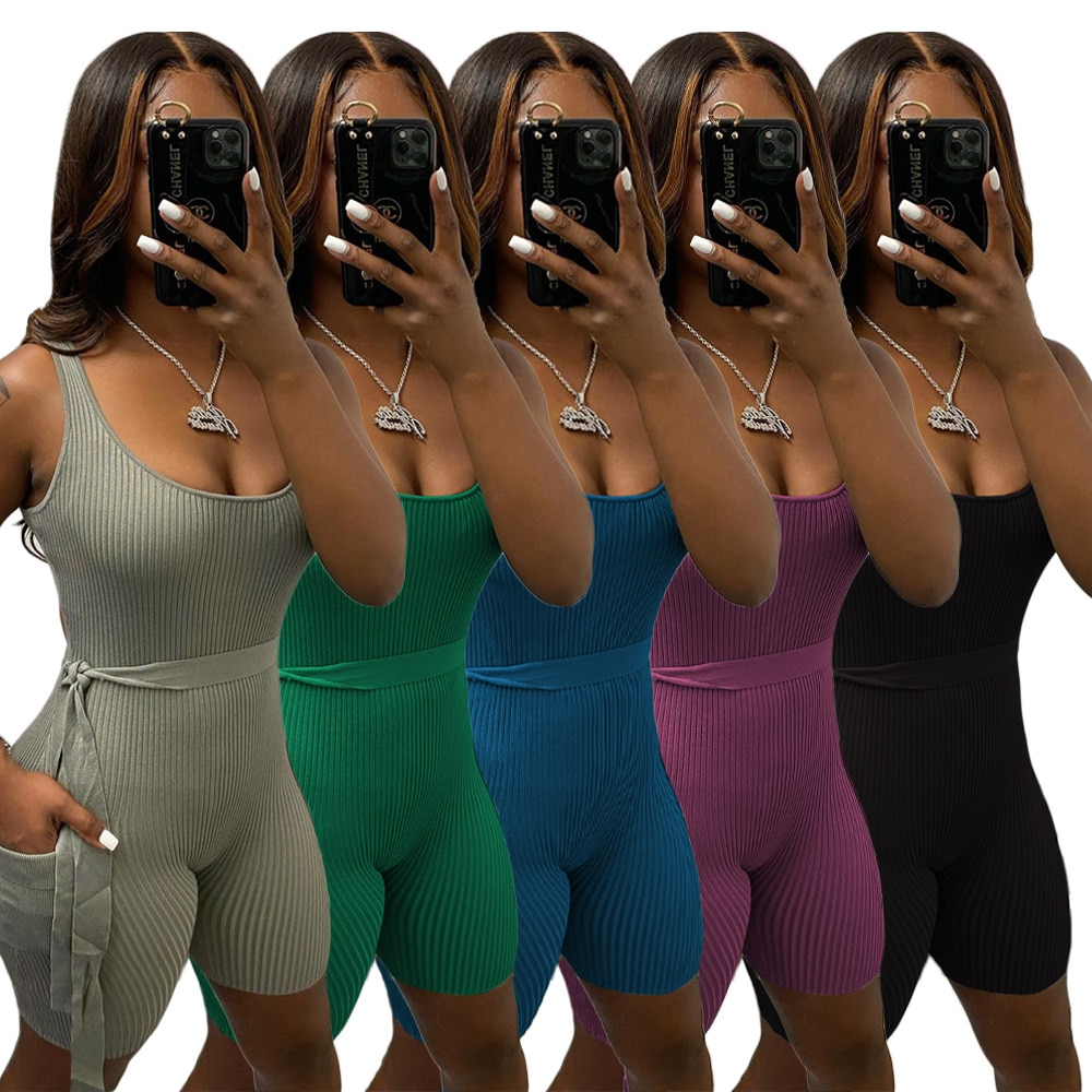 2021 Women Bodycon Romper Sleeveless Belt One Piece Outfits Rompers Womens Bandage Jumpsuit Shorts Fashion Clothes Sexy