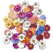50pcs Wooden Chrysanthemums Sewing Buttons DIY Scrapbooking Clothes Decor