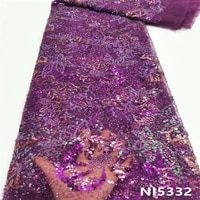 ni ai purple african 3d besds embroidery lace fabric 2021 high quality nigerian french lace fabric with sequin dress ni5332