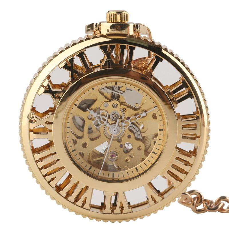 Steampunk Golden Hollow Automatic Mechanical Pocket Watch for Women Men Hollow Roman Number Dial Clock Pendant Necklace Chain