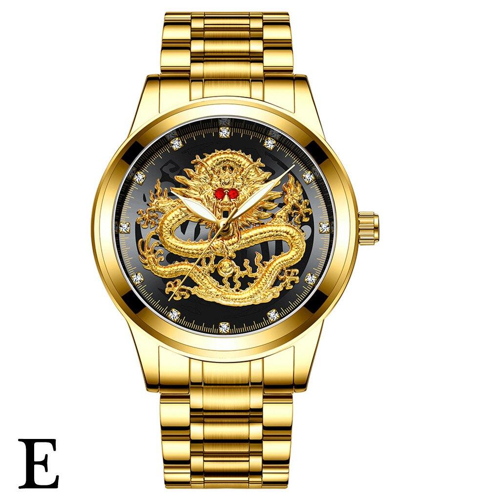 Reloj con esfera de dragón y diamantes en relieve resistente al agua para hombre