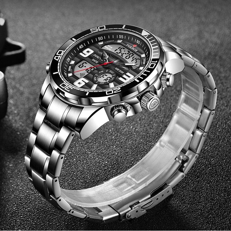 2021 جديد FOXBOX الرجال ساعة مزدوجة عرض الفولاذ المقاوم للصدأ الرياضة ساعة للرجال مقاوم للماء كوارتز ساعة إلكترونية Relogio Masculino