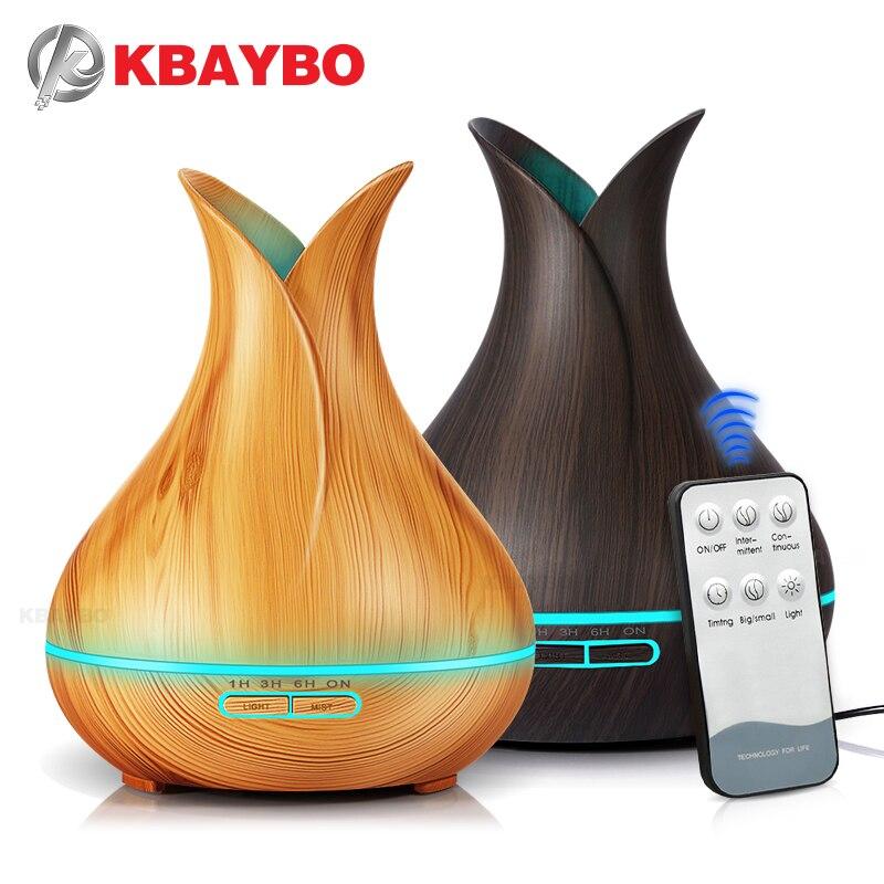 KBAYBO بالموجات فوق الصوتية الهواء المرطب الكهربائية رائحة الهواء الناشر الضروري النفط الناشر الخشب التحكم عن بعد Mistmaker للمنزل 400 مللي