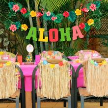 QIFU Hawaii ALOHA Happy Birthday Banner Flamingo Hawaiian Tropical Party Decor Holiday Summer Party