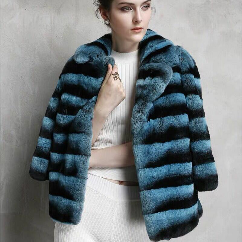 2020Womens Natural Chaqueta de piel de conejo Rex auténtica solapa Chaqueta corta caliente casuales de moda de las mujeres europeas es Stre