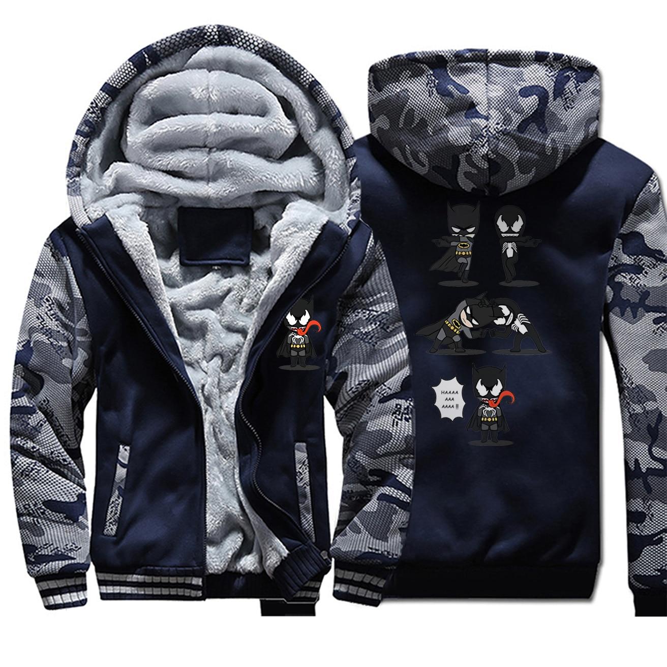 Batman vs Venom Thick Sweatshirt Superhero Crossover Funny Camouflage Hoodies Mens Cool Design Zip Jacket Men Winter Streetwear