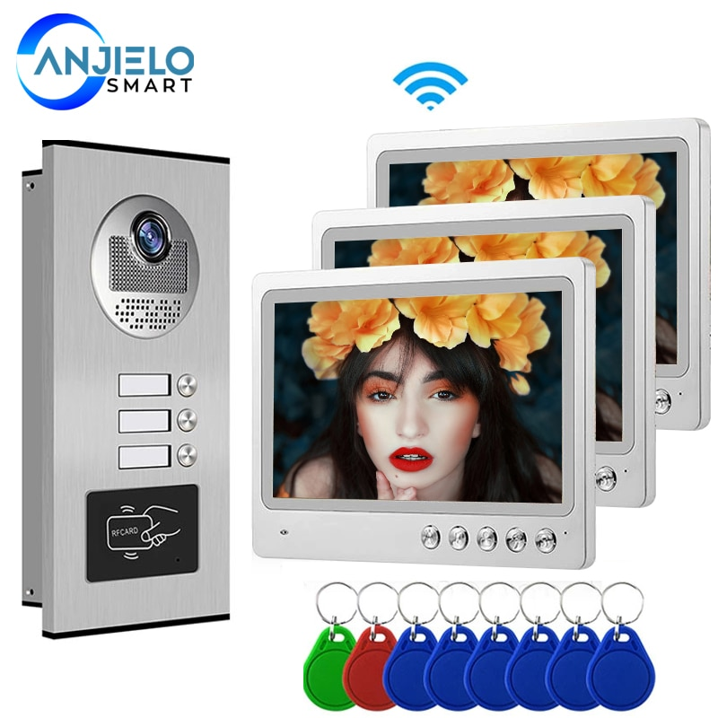 9 Inch TFT Display Wifi Apartments Video Door phone Intercom System with 3 Color Moniter Smartphone App Remote Contol Unlock