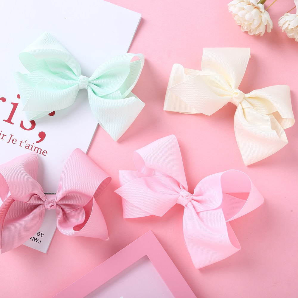 Cute Ribbon Bow Baby Hair Clips Boutique Hairpins For Children Candy Color Girls Headwear Infant Accessories Kids Barrettes