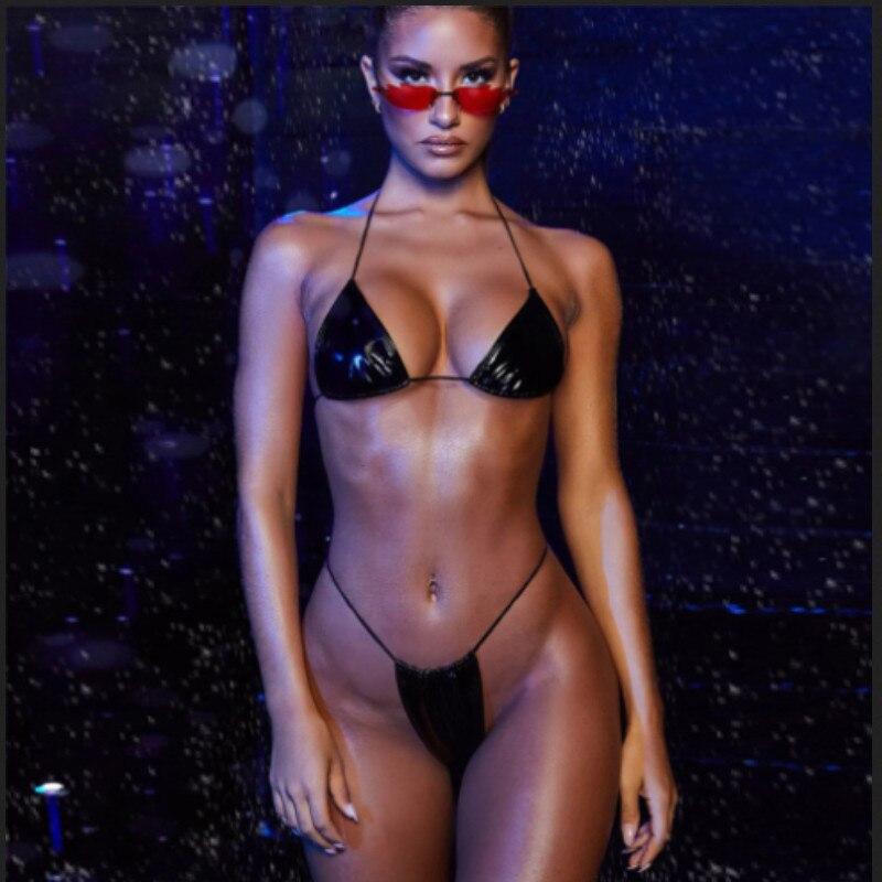 2020 Wet Look PU cuero Sexy mujer verano traje de baño Bikini conjunto Sexy Halter Bra e traje de baño