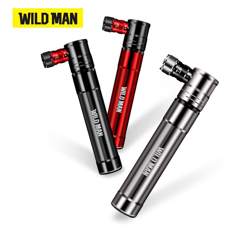 WILD MAN Bicycle Tire Pump Alloy Hand Air Pump Cycling Tire Inflator Schrader Presta Valve Mini Bike Pump Ball Pump 100 PSI