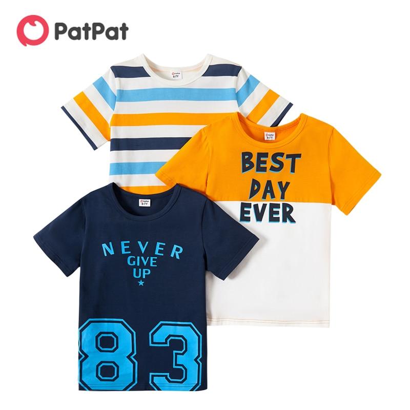 PatPat 2021 новый летний комплект из 3 предметов детская одежда для мальчиков в полоску с принтом в виде букв, Детская футболка с принтом Футболки для От 4 до 9 лет Детская одежда для мальчиков, хлопковые футболки с короткими рукавами и футболка, одежда для детей|Футболки для мальчиков| | АлиЭкспресс