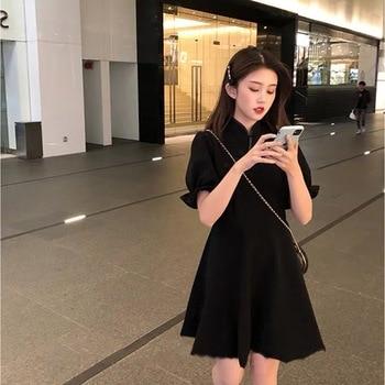 Black Cheongsam Improved Dress Hepburn Style Female 2021 New Spring French Retro High Sense First Love Dress