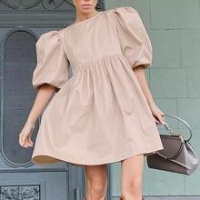 Women's Mini Dress Cotton O-neck Puff Half Sleeve Ladies Pleated A-Line  Pullover Elegant Dresses 20