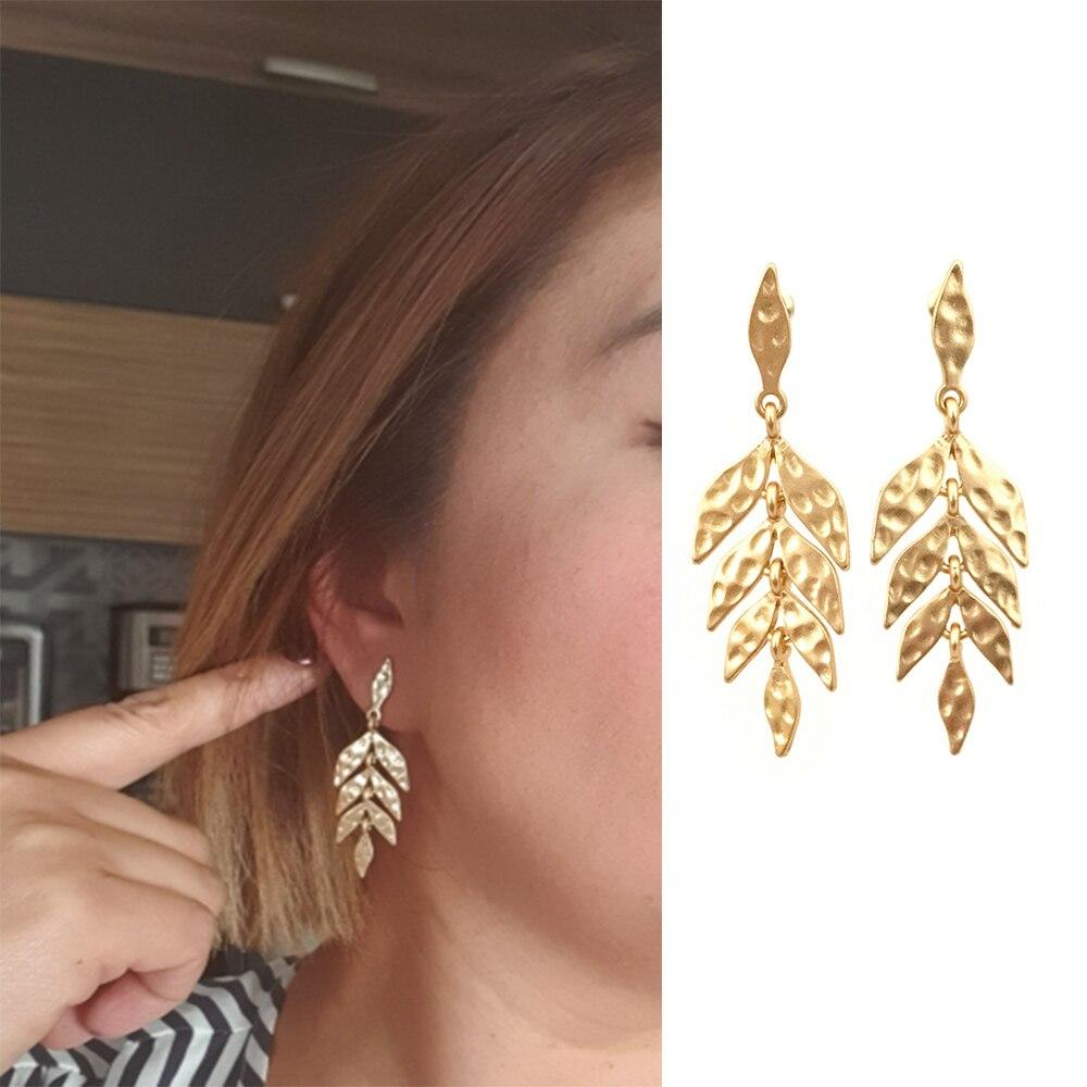 Casual worm ouro ou prata cor martelado folha ligada folha árvore gota brincos para mulher