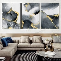 modern light luxury gilt canvas painting nordic abstract mountain river print poster art wall pictures for living room decor