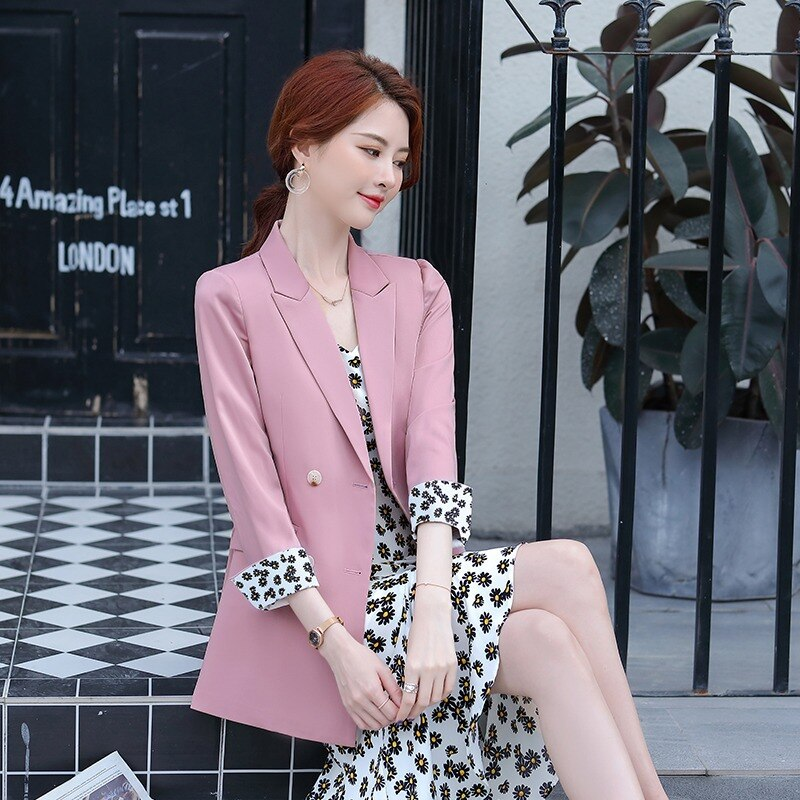 Professional suit womens summer floral garden fishtail skirt two pieces jacket dress women  jaket piece